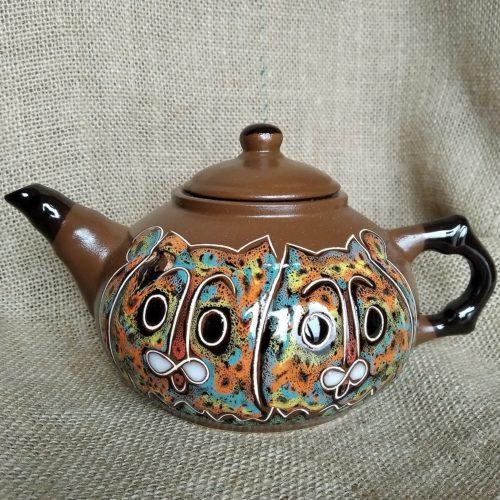 Чайник керамический заварной «Коты» коричневый малый
