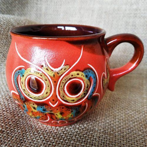 Чашка кофейная керамическая «Сова» красная