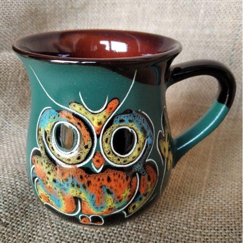 Чашка чайная керамическая «Совы» тёмно-зелёная