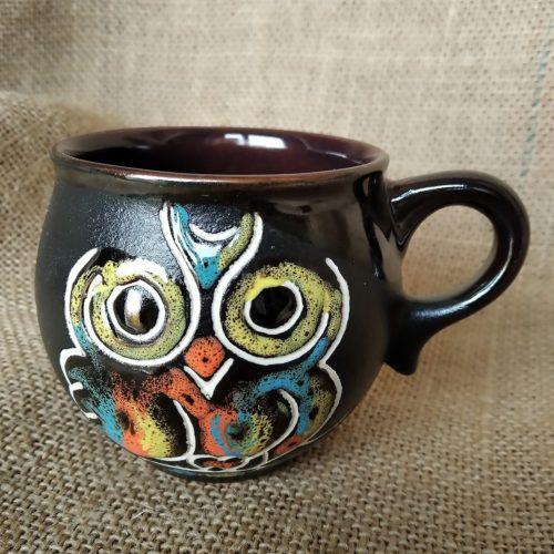 Чашка кофейная керамическая «Сова» чёрная