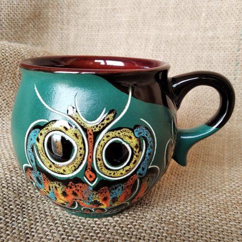 Чашка кофейная керамическая «Сова» зелёная