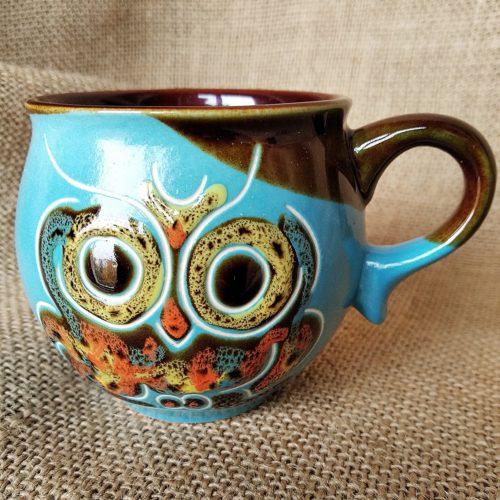 Чашка кофейная керамическая «Сова» голубая