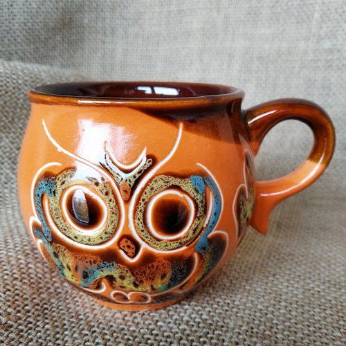 Чашка кофейная керамическая «Сова» оранжевая