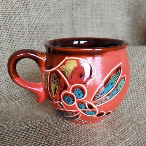 Чашка кофейная керамическая «Стрекоза» красная