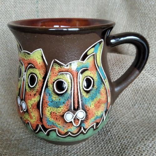 """Чашка чайная керамическая """"Коты"""" коричневая"""