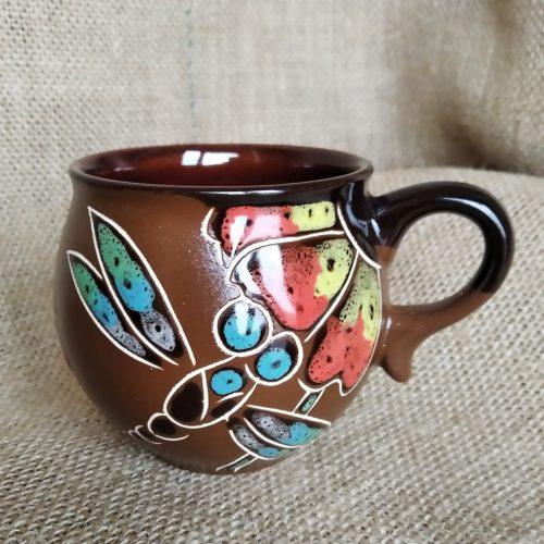 Чашка кофейная керамическая «Стрекоза» коричневая