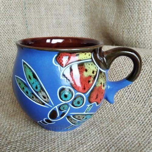 Чашка кофейная керамическая «Стрекоза» синяя
