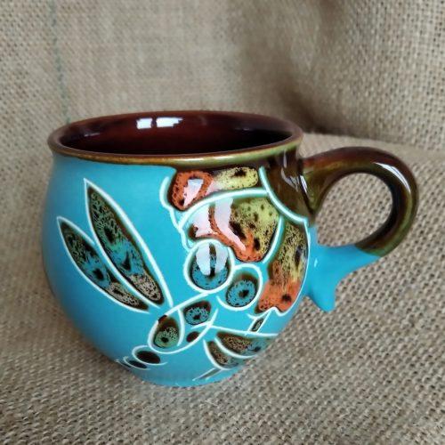 Чашка кофейная керамическая «Стрекоза» голубая