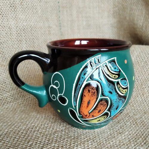 Чашка кофейная керамическая «Бабочка» зеленая