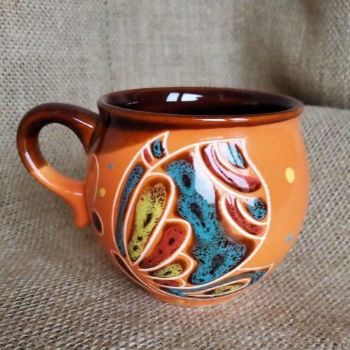 Чашка кофейная керамическая «Бабочка» оранжевая