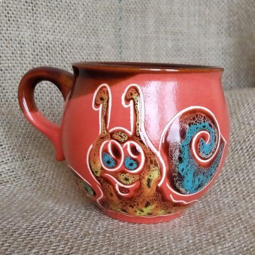 Чашка кофейная керамическая «Улитка» красная