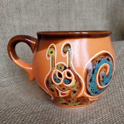 Чашка кофейная керамическая «Улитка» оранжевая