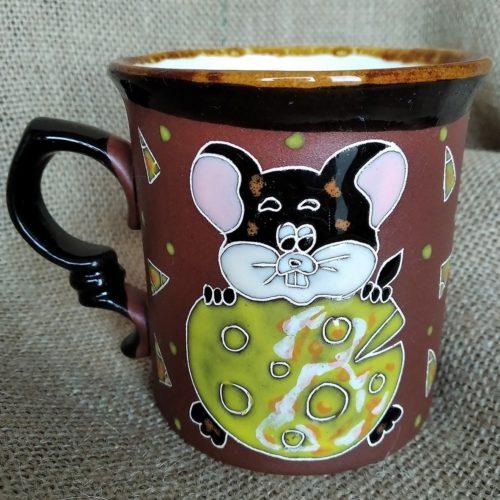 Чашка керамическая чайная «Мышка с сыром»