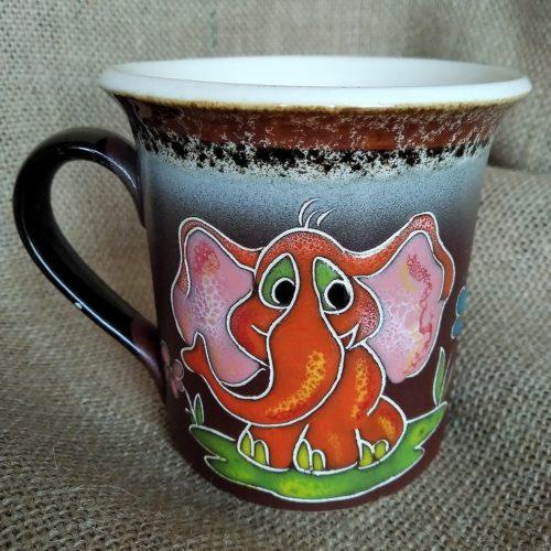 Чашка керамическая чайная «Оранжевый слоник»