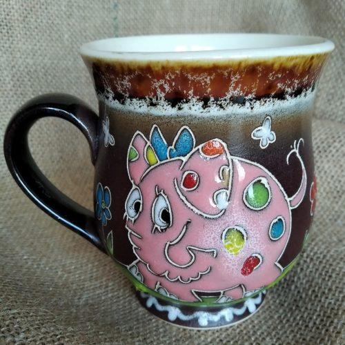 Чашка керамическая чайная «Розовая свинка»