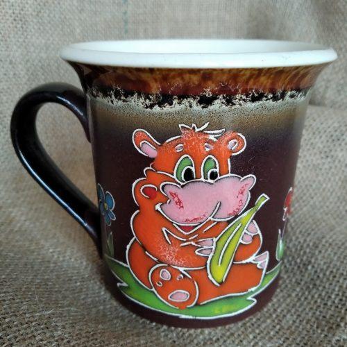 Чашка керамическая чайная «Оранжевый бегемотик»