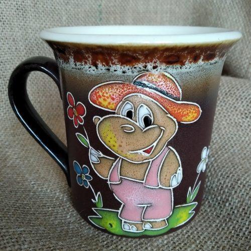 Чашка керамическая чайная «Бегемотик в розовом комбинезоне»