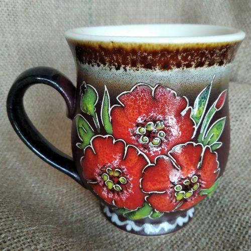 Чашка керамическая чайная «Маки»