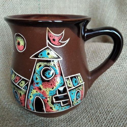 Чашка чайная керамическая «Замок» коричневая