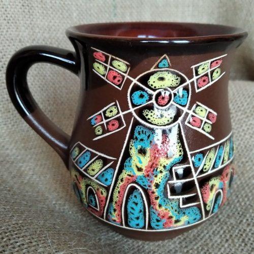 """Чашка чайная керамическая """"Замок"""" коричневая"""