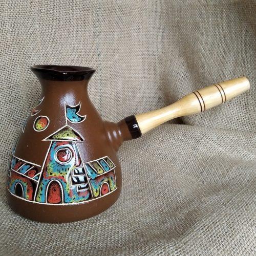 Турка керамическая «Замок» коричневая большая