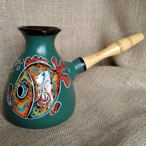Турка керамическая «Золотая рыбка» зелёная большая