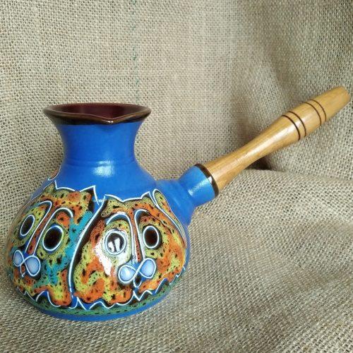 Турка керамическая «Коты» синяя