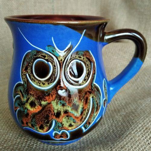 Чашка чайная керамическая «Совы» синяя