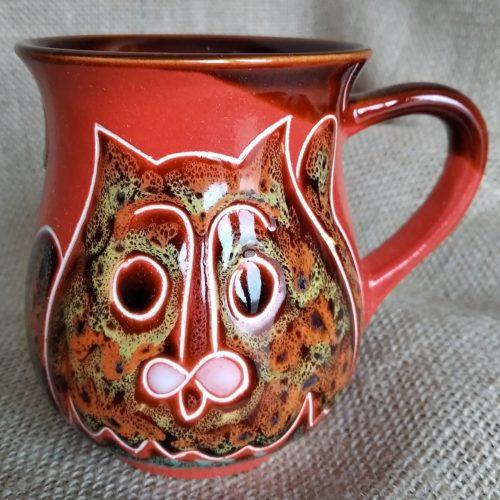 Чашка чайная керамическая «Коты» красная