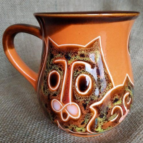 Чашка чайная керамическая «Коты» оранжевая