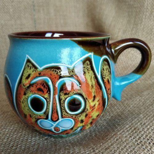 Чашка кофейная керамическая «Коты» голубая