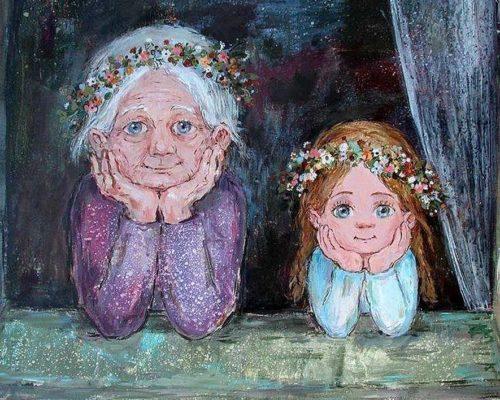 Чакветадзе Нино. Бабушка с внучкой. 1